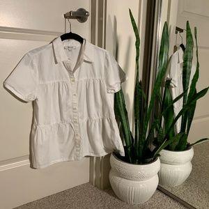 MADEWELL Seamed Button Down Shirt (XS)